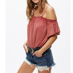 Free People Tops - FREE PEOPLE NEW Cold Shoulder Distressed Top Large